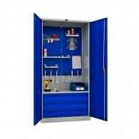 Шкафове за инструменти PROMET TC1995 041030, с двоен екран, един рафта, три чекмеджета, 500кг. товароносимост