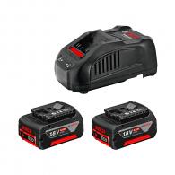 Батерия акумулаторна BOSCH GBA 18x2 + GAL 1880 CV, 18V, 5.0Ah, Li-Ion, к-кт