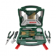 Комплект инструменти BOSCH 70части, свредла, накрайници, отвертки, клещи, ключ, в куфар