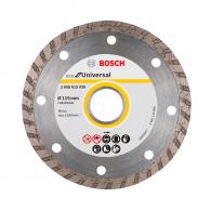 Диск диамантен BOSCH ECO for Universal Turbo 115x2.0x22.23мм, за бетон, гранит, тухла и естествен камък, сухо рязане