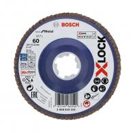 Диск ламелен BOSCH X-LOCK 125x22.23 P60, за шлайфане на неръждаема стомана, чугун, стоманена ламарина