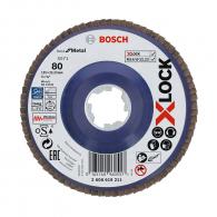 Диск ламелен BOSCH X-LOCK 125x22.23 P80, за шлайфане на неръждаема стомана, чугун, стоманена ламарина