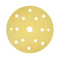 Шкурка велкро BOSCH C450 150мм Р150 50бр, универсална, с 15 отвора, жълта, самозалепваща