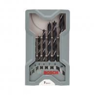Свредла BOSCH 3.0-10.0мм 7части, за дърво, CV-стомана, 2 режещи ръба, цилиндрична опашка