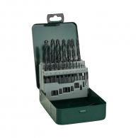Свредла BOSCH Box 1.0-10.0мм 19части, за метал, HSS-R, горещо валцовано, цилиндрична опашка