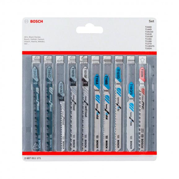 Нож за прободен трион комплект BOSCH 10бр, за дървесина, метал, BiM, пластмаса Т-захват