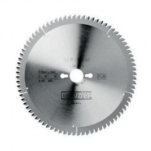 Диск с твърдосплавни пластини DEWALT DT4280 260/1.8/30 Z=80, за ламинат