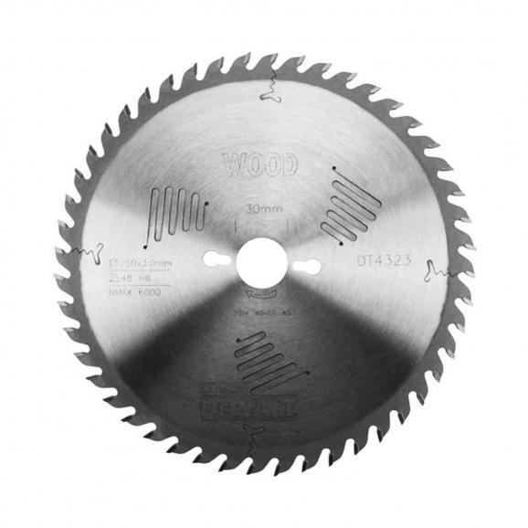 Диск с твърдосплавни пластини DEWALT DT4323 250/3.0/30 Z=48, за дървесина