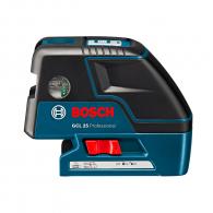 Лазерен 5-точков нивелир BOSCH GCL 25, 5 лазерни диода, точност 3mm/10m, автоматично
