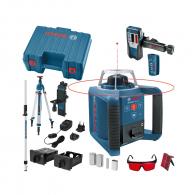 Ротационен лазерен нивелир BOSCH GRL 300 HV set Professional, червен лазер клас 3R, обхват 300m, точност 3.0mm/10m, автоматично