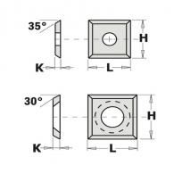 Сменяеми пластини CMT 10.5x10.5x1.5мм Z=4, 35°, HWM, S2020-за суха и мокра твърда дървесина, ПДЧ и MDF