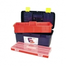 Куфар за инструменти TAYG 19, с органайзер и тава, полипропилен, син - small