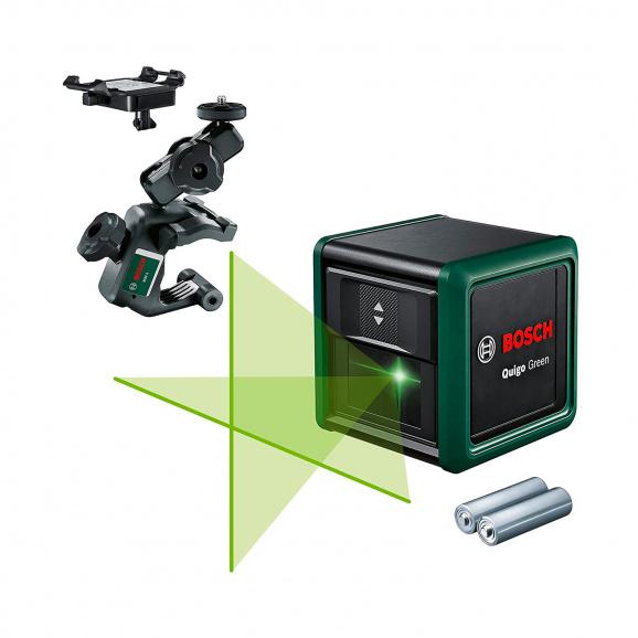 Линеен лазерен нивелир BOSCH Quigo Green, 2 лазерни линии, точност 8mm/10m, автоматично