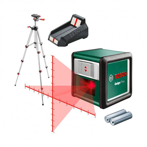 Линеен лазерен нивелир BOSCH Quigo Plus, 2 лазерни линии, точност 8mm/10m, автоматично