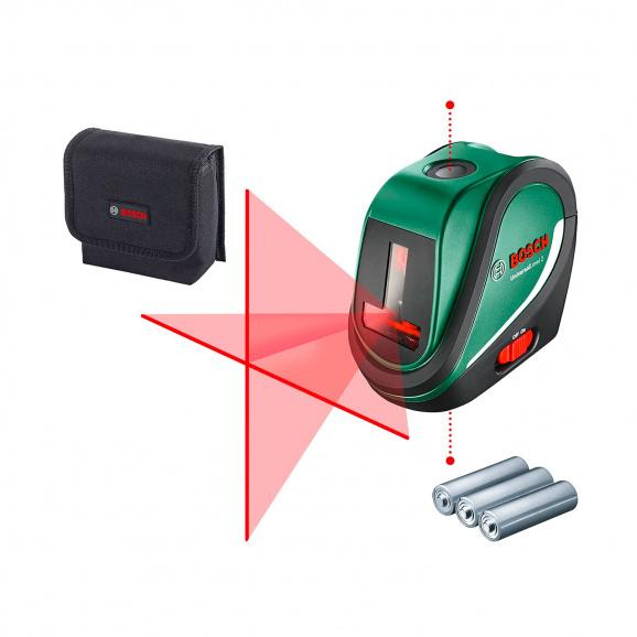 Линеен лазерен нивелир BOSCH Universal Level 2, 2 лазерни линии, 1 лазерна точка, точност 5mm/10m, автоматично