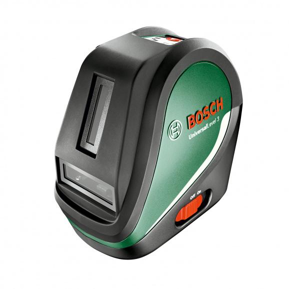 Линеен лазерен нивелир BOSCH Universal Level 3, 3 лазерни линии, 1 лазерна точка, точност 5mm/10m, автоматично