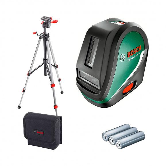 Линеен лазерен нивелир BOSCH Universal Level 3 SET, 3 лазерни линии, 1 лазерна точка, точност 5mm/10m, автоматично