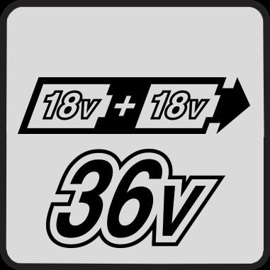 Захранване от две последователно свързани 18V Li-ion батерии